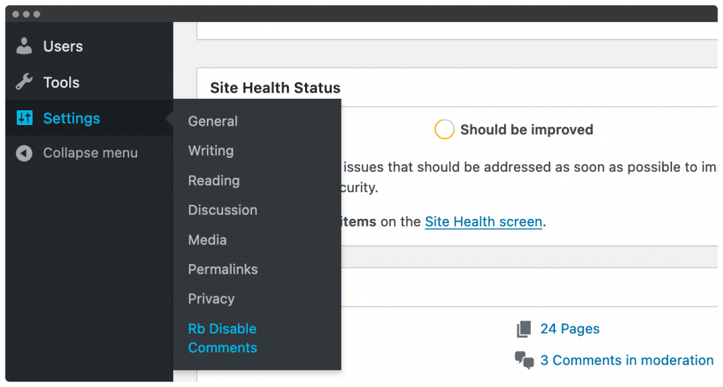 rb plugin disable comments settings
