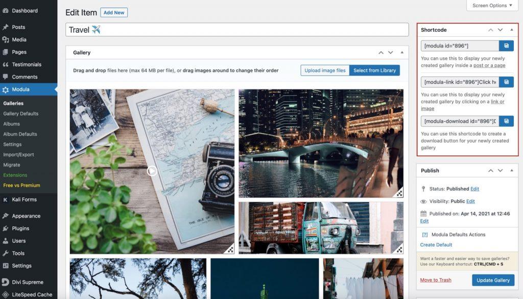 wordpress image gallery shortcode